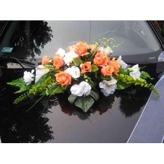 Hochzeitsdeko Autoschmuck Gelb + Blumenstrauß weiß-orange