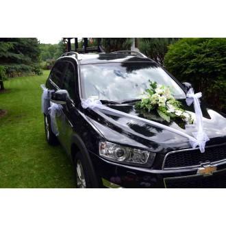Startseite » Hochzeitsdeko Autoschmuck Gelb + Blumenstrauß weiß
