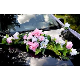 hochzeitsdeko autoschmuck 11 rosen mit bl tter rosa blumenstrau wei rosa. Black Bedroom Furniture Sets. Home Design Ideas