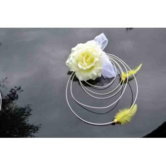 Hochzeitsdeko Autoschmuck Gelb + Blumenstrauß weiß